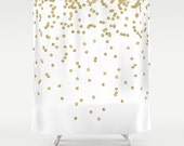 Shower Curtain, Gold Shower Curtain, Gold Confetti Shower Curtain, Fabric Shower Curtain, Teen Shower Curtain, Girls Shower Curtain, Gold