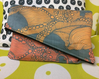 Faux Suede Angled Clutch with Octopus Print- Digitally Printed and Handmade