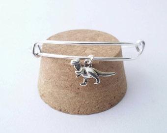 T Rex dinosaur bangle bracelet with Tyrannosaurus Rex dino charm