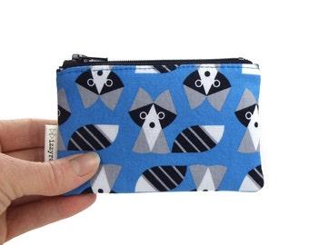 Coin Purse - Raccoon - Geometric - Change Purse - Card Wallet - Kids Gift - Blue - Cute Coin Purse - Card Case - Zipper Bag