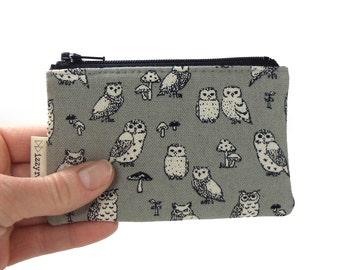 Coin Purse - Owls - Woodland Owl - Cute Coin Purse - Gift - Change Wallet - Zipper Bag - Gray - Card Wallet - Zipper Coin Pouch
