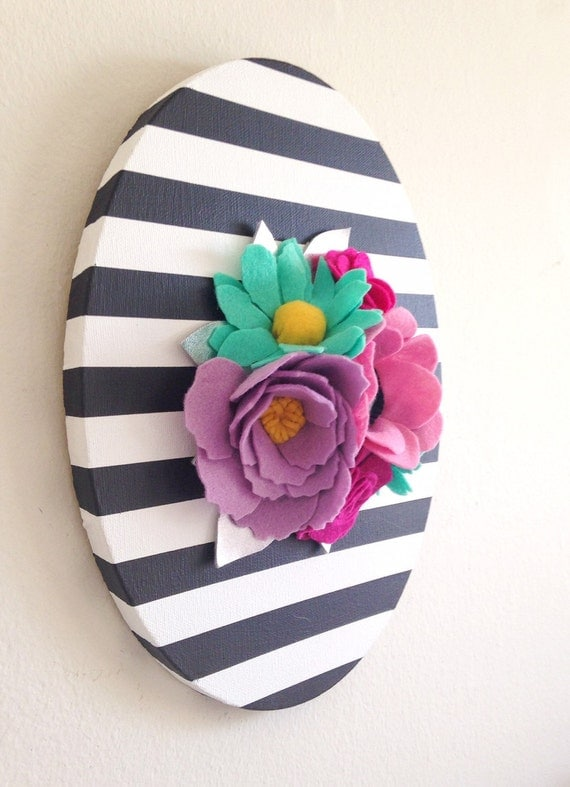 Felt Flowers Wall Decor : Felt wall art floral hanging by