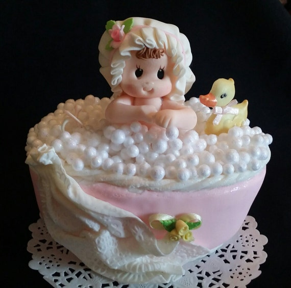 Baby Girl Baby Shower, Pink Baby Shower, Baby on Bath Tub, Baby ...
