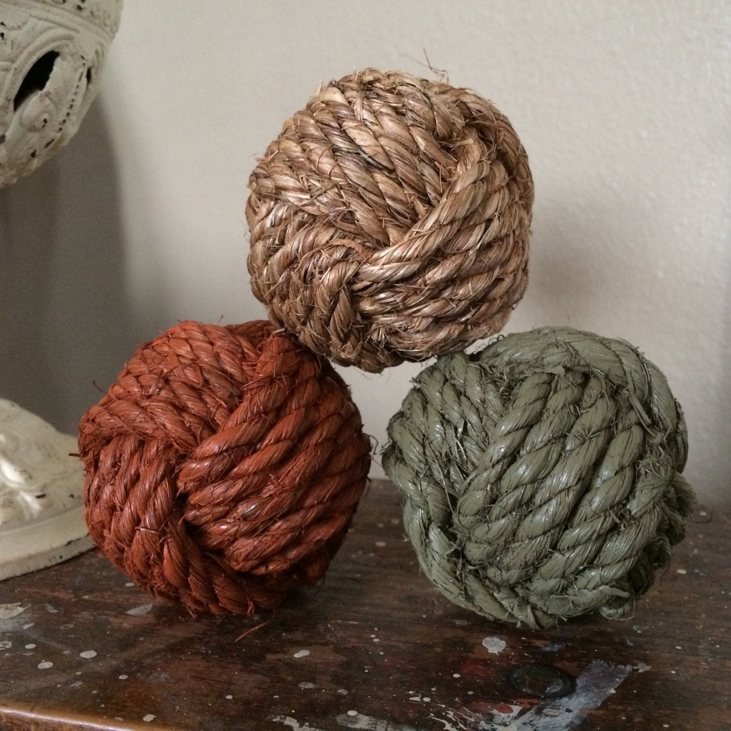 decorative rope knot balls set of 3 bowl fillers rope knot
