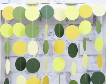 Citrus Wedding Garland - Yellow and Green Summer Wedding - Moss Green Paper Garland - Spring Wedding Decor
