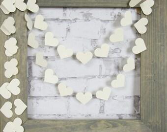Cream Heart Garland - Cream Wedding Garland - Ivory Baby Shower Decor