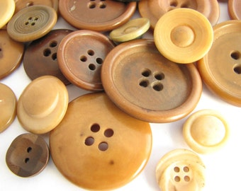 Vintage button lot with 30 tagua nut buttons, Assorted vintage buttons made of vegetable ivory
