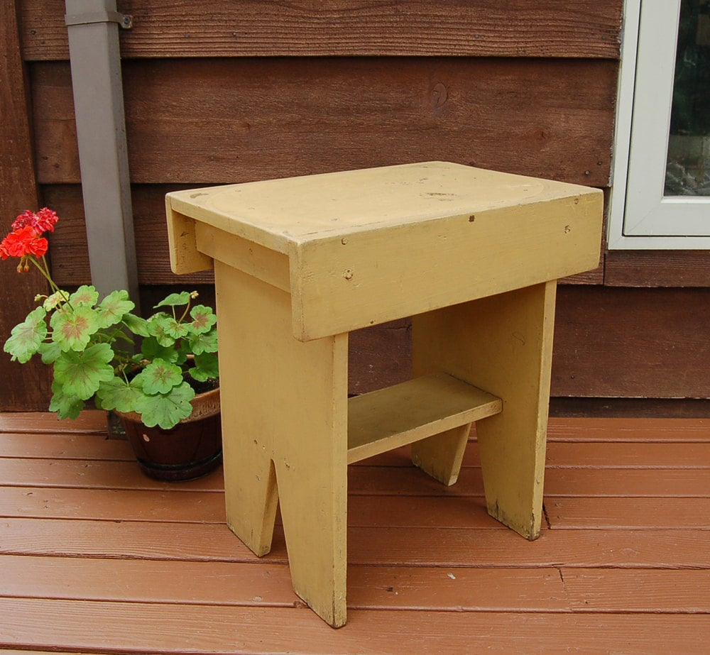 Old Wooden Bench Antique Painted Stool Tall Wood Bench
