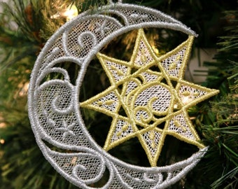 CAPTURED STAR (Freestanding Lace)  -  Machine Embroidered Freestanding Lace, Christmas Ornament, Home Décor