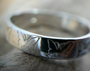 Handmade Sterling Silver Butterfly Band Ring