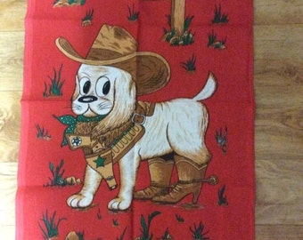 Vintage Retro Kitsch 1970's TeaTowel Cute Dog