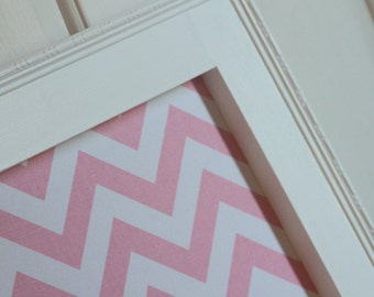 "Framed Fabric Magnet Board - Farmhouse Decor Magnetic Bulletin Board 29""x37"" Memo Board Vintage Photo display Pink chevron Baby girl nursery"