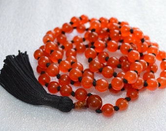108 Red Carnelian Mala -Clarifies the voice,Detox, attract prosperity, new resources,fertility, good luck,ambition,love,drive, determination