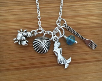 Disney's The Little Mermaid Charm Necklace-Ariel Necklace-Mermaid Necklace-mermaid charm necklace