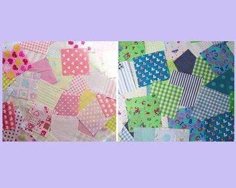 Bright Colours Nursery Patchwork squares. 4ins (10cm)  Packs of 50 .