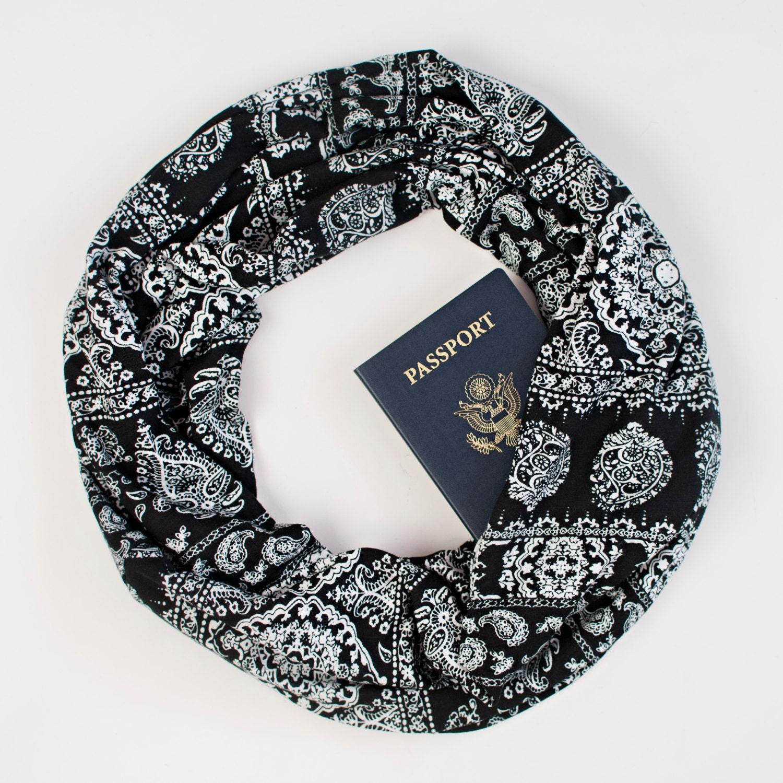 Hidden pocket scarf mykonos travel scarf gift for her for Travel scarf