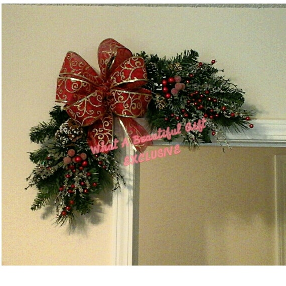 Christmas swag wreath corner wreath rustic snow ice branch for Christmas swags and garlands to make