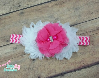 Hot pink headband, pink and white bow, pink baby bands, chevron headband, everyday headbands, baby hair bow, flower headband, pink headband