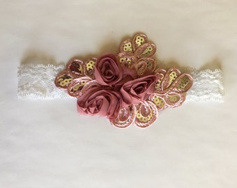 Rose sparkle headband-Newborn
