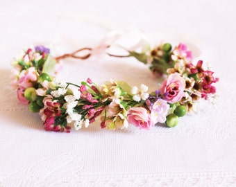 Multicoloured Flower Crown /Waxflowers, roses, pink, purple, buds, floral, party, handcrafted