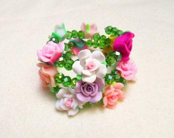 Floral Memory Wire Bracelet, Wrap Bracelet, Wrap Around Bracelet, Fairy Bracelet, Floral Jewellery, Beaded Bracelet