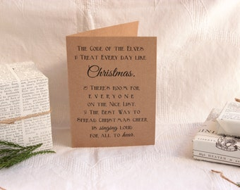 The Code of the Elves ELF Christmas Card : 5x7 Brown Kraft Paper