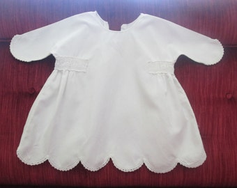 Vintage White Cotton Toddler Dress Circa 1940's   #16028