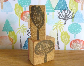 """stamp collection """"Trees"""", tree, oak, fir, boxwood, palm, coconut, stamp, scrapbooking"""