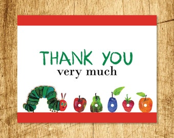 "Thank You Card, Very Hungry Caterpillar  |  Blank Interior  |  Printable Digital Download  |  5.5x4.25"" A2"