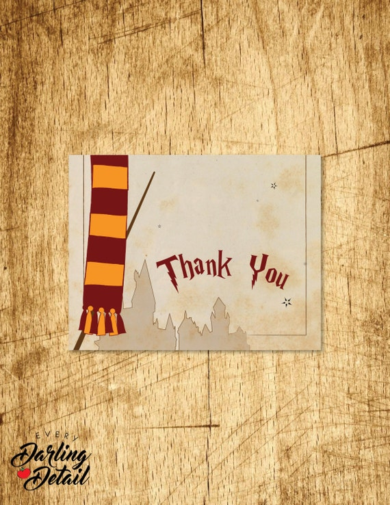 Harry Potter Inspired Thank You Card | Blank Interior | Printable ...