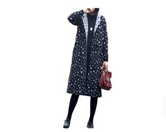 Polka dot fashion woolen coat
