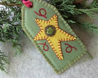 Loden Green Wool Felt Star Tag Ornament