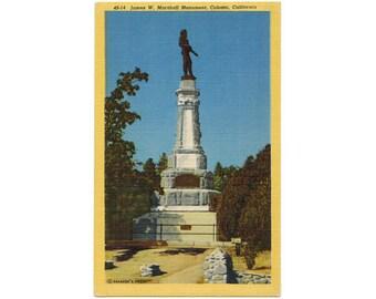Coloma California vintage linen postcard | Sutter's Mill, California Gold Rush, James W Marshall Monument | 1940s CA travel postcard