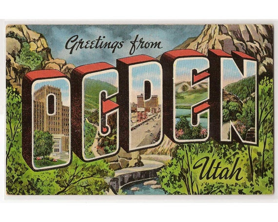 Ogden Utah Vintage Linen Postcard Pine View Lake Cache