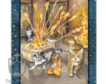 Ten of Fire, (Wands) Giclee Print, from Mystical Cats Tarot