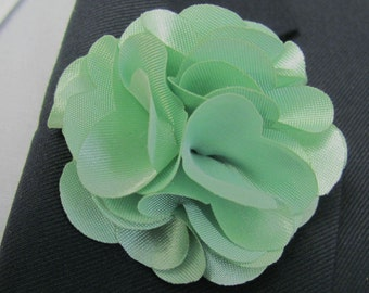 Mint Green Flower Boutonniere With 2 Inch Stick Lapel Pin