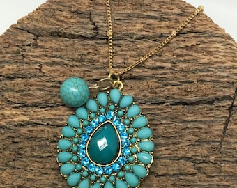Teal Pendant Necklace