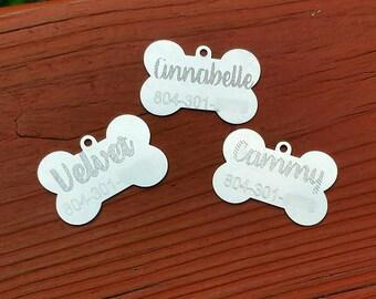 Bone Shaped Dog Name Tags//Name tag//Dog tags//Custom//Personalized// Engraved//