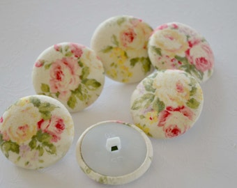 Fabric Buttons - Shabby Roses Spring Fabric Covered Buttons