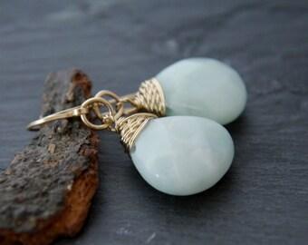 Aquamarine, Amazonite, Teardrop Earrings, 14K Gold Fill, Wire Wrapped, Gemstone Briolette, Dangle Earrings, Robins Egg Blue, Wedding, Simple