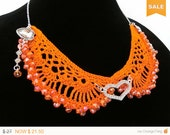 Sale -  Orange Crochet Collar Necklace, Beaded Heart Orange Necklace,Detached Orange Collar Halloween Accessory Gift Ideas