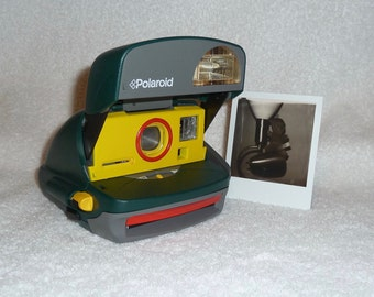 Upcycled Yellow and Red Polaroid OneStep Camera With Built In Flash And Close Up Lens