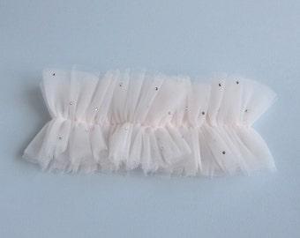 Veronique Swarovski Blush Tulle Wedding Garter