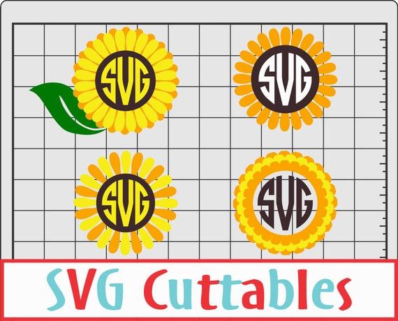 sunflower monogram frame svg flower monogram frame dxf eps