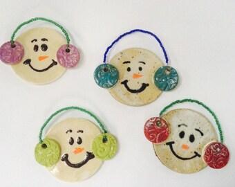 Snowman ornament, Christmas ornament , pottery snowman ornament
