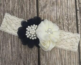 Navy and ivory headband, Lace floral headband, lace headband, vintage headband, ivory headband, ivory lace headband, flower girl, navy