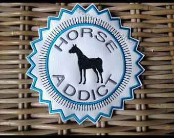 Crest applique pattern Horse Addict for Equestrian customization