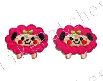 Set 2 pcs. Sweeties Pink Sheep Cartoon Cute Animal New Sew / Iron On Patches Embroidered Applique Size 4cm.x3.2cm.