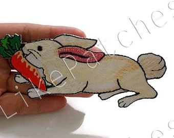 Rabbit with Carrot Cute Animal Print New Sew / Iron On Patch Embroidered Applique Size 12cm.x4.8cm. #3