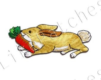 Rabbit with Carrot Cute Animal Print New Sew / Iron On Patch Embroidered Applique Size 12cm.x4.8cm. #